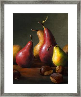Pears With Chestnuts Framed Print