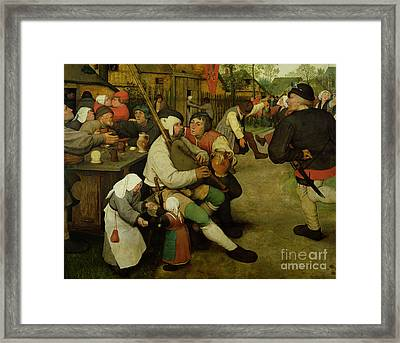 Peasant Dance Framed Print by Pieter the Elder Bruegel