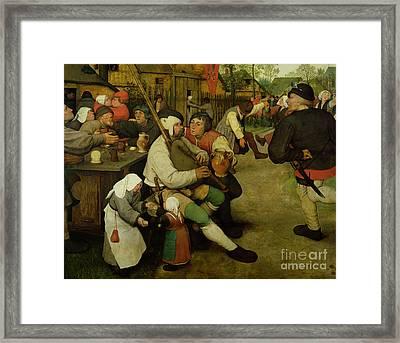 Peasant Dance Framed Print by Pieter the Elder Bruegel