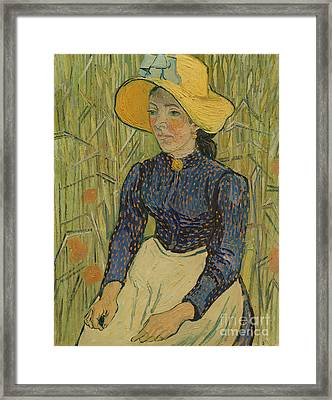Peasant Girl In Straw Hat Framed Print by Vincent van Gogh