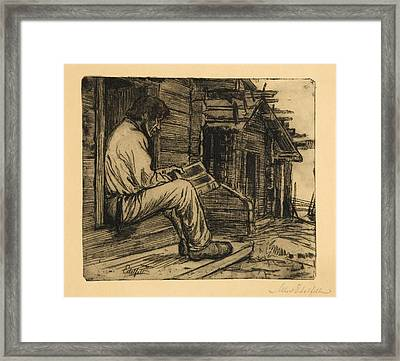 Peasant Reading The Bible Framed Print