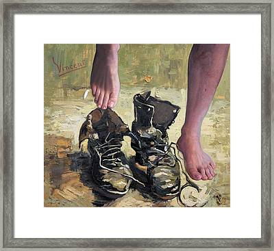 Peasant Shoes My Foot Framed Print by Richard Barone
