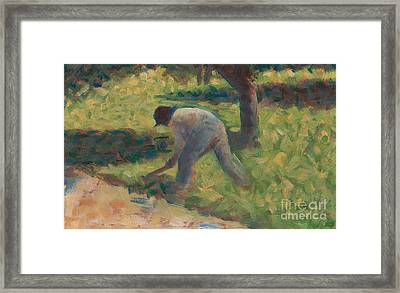 Peasant With A Hoe Framed Print by Georges Pierre Seurat