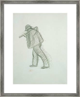Peasant With Scythe  Framed Print by Henri-Edmond Cross