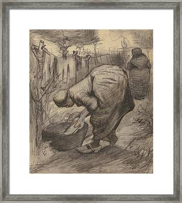Peasant With Wash Basin In A Garden Framed Print