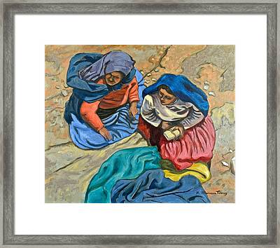 Peasant Women, Peru Framed Print by Mary Villanueva-Tuomy