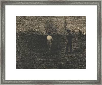 Peasants Framed Print by Georges-Pierre Seurat