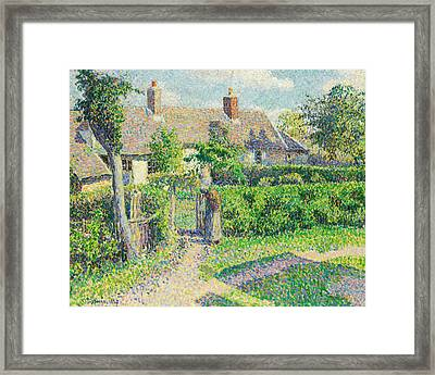 Peasants' Houses, Eragny Framed Print by Camille Pissarro