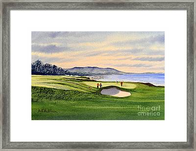 Framed Print featuring the painting Pebble Beach Golf Course by Bill Holkham