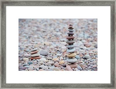 Pebble Stack II Framed Print by Helen Northcott