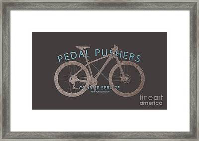 Pedal Pushers Courier Service Bike Tee Framed Print by Edward Fielding
