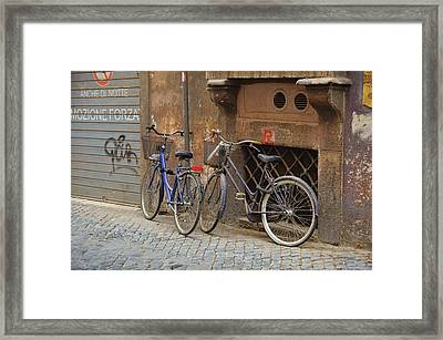 Bicycling Thru Rome Framed Print by JAMART Photography