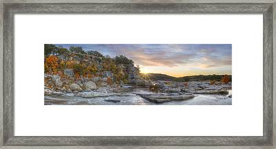 Pedernales Falls Autumn Panorama From The Hill Country Framed Print