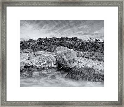 Pedernales River Falls In Black And White - Texas Hill Country Framed Print by Silvio Ligutti