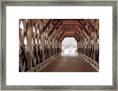 Pedestrian Lattice Bridge Framed Print