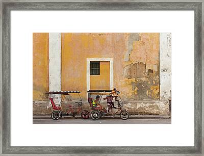Framed Print featuring the photograph Pedicabs At Convento De Santa Clara Havana Cuba by Charles Harden