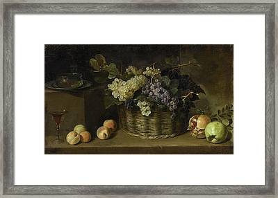 Pedro De Camprobin Y Passano Still Life With A Basket Of Grapes, Peaches, An Apple, A Pomegranate, A Framed Print
