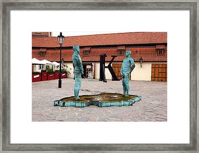 Peeing Men Kafka Museum Prague Czech Republic Framed Print by Wayne Higgs