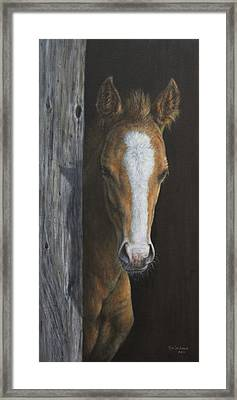 Framed Print featuring the painting Peek A Boo by Kim Lockman