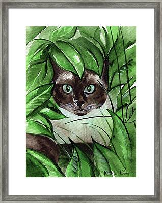 Framed Print featuring the painting Peek A Boo Siamese Cat by Dora Hathazi Mendes