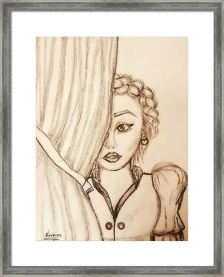 Peeking Behind The Curtains  Framed Print