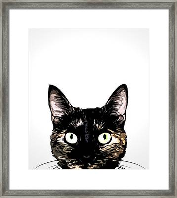Peeking Cat Framed Print