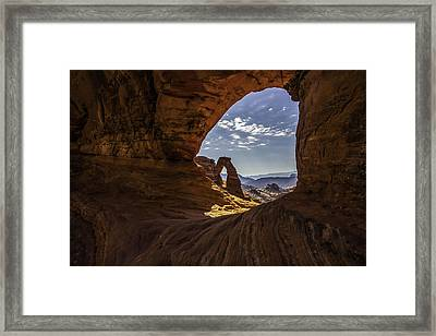 Peeking Through A Sandstone Keyhole Framed Print