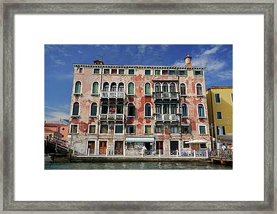 Peeling Red Stucco On A Venetian Building At San Basilio Waterbu Framed Print by Reimar Gaertner