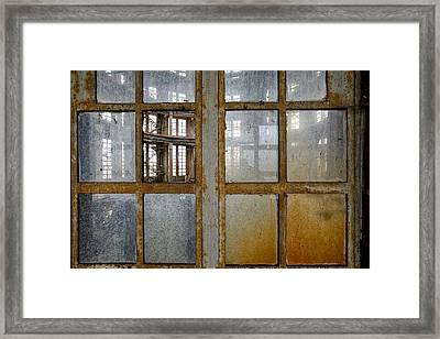 Peeping Inside Factory Hall - Industrial Decay Framed Print