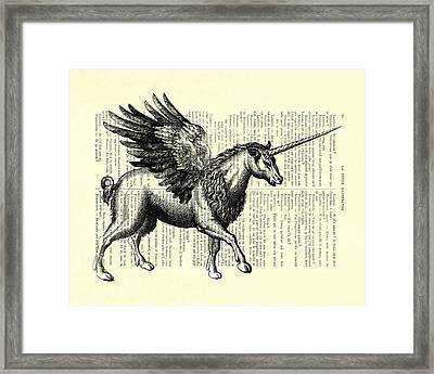 Pegasus Black And White Framed Print by Madame Memento