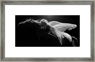 Framed Print featuring the photograph Pegasus Bw by Dario Infini