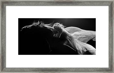 Framed Print featuring the photograph Pegasus Crop Bw by Dario Infini