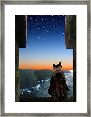 Pegasus Over The Cliffs Of Moher Framed Print by Kathleen Horner