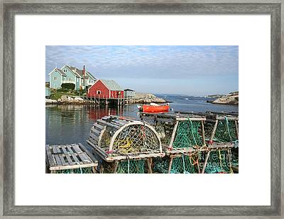 Peggys Cove And Lobster Traps Framed Print by Thomas Marchessault
