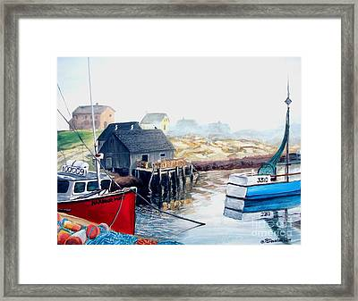 Framed Print featuring the painting Peggy's Cove Harbour by Patricia L Davidson