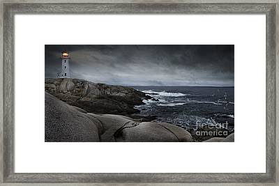 Framed Print featuring the photograph Peggys Cove Impending Storm by Nancy Dempsey