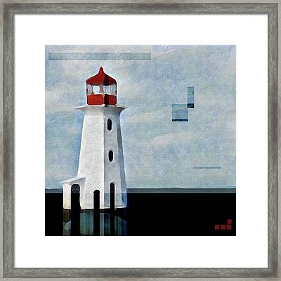 Framed Print featuring the mixed media Peggys Cove Lighthouse Painterly Look by Carol Leigh