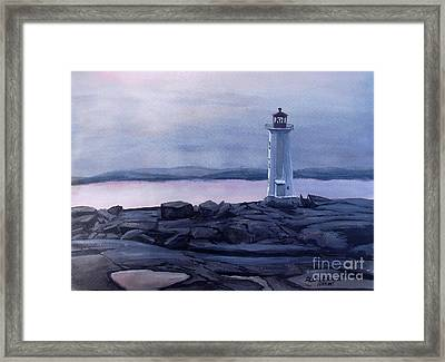 Framed Print featuring the painting Peggy's Cove Lighthouse  by Patricia L Davidson