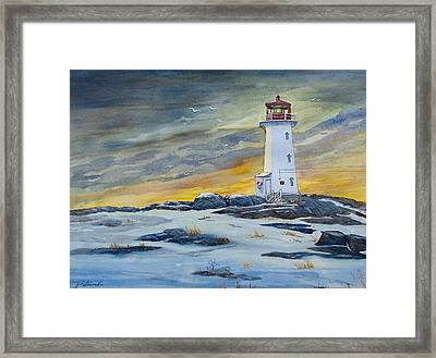 Peggy's Cove Lighthouse Framed Print by Raymond Edmonds