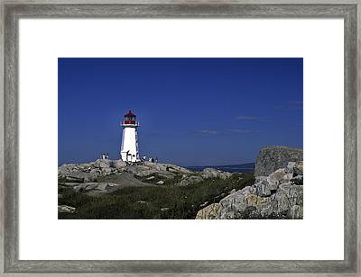 Peggy's Cove Lighthouse Framed Print by Sally Weigand