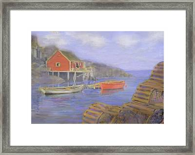 Peggy's Cove Lobster Pots Framed Print by Ian  MacDonald