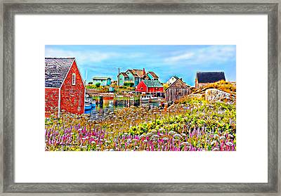 Peggy's Cove Wildflower Harbour Framed Print
