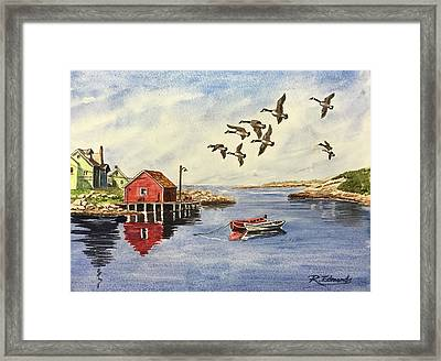 Peggy's Cove With Geese Framed Print