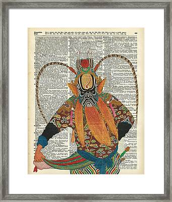 Pekin Opera Chinese Costume Over A Old Dictionary Page Framed Print