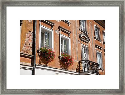 Pelargonium Peltatum Flowers On Windowsills  Framed Print