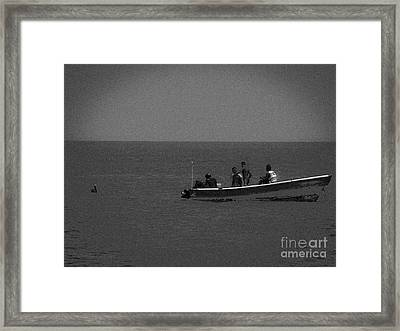 Pelican And The Fishing Boat Framed Print