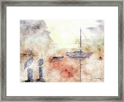 Pelican Bay Watercolor Framed Print by Ken Figurski