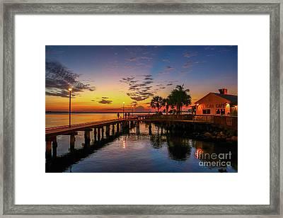 Pelican Cafe Sunrise Framed Print