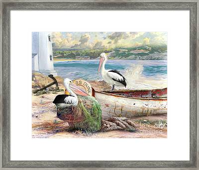 Framed Print featuring the digital art  Pelican Cove by Trudi Simmonds