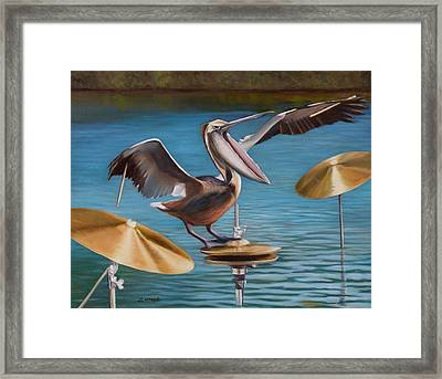 Pelican Crash Framed Print by Loretta McNair